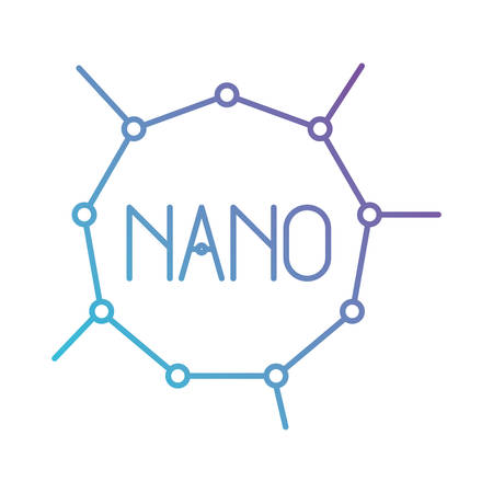 Nano molecular structure in color gradient silhouette from purple to blue illustration.