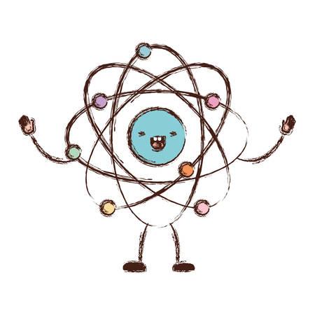 atom cartoon in colorful blurred silhouette vector illustration Illustration