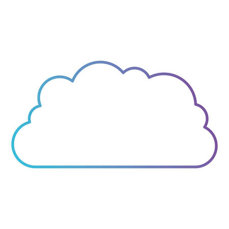 cloud storage data service icon in color gradient silhouette from purple to blue vector illustration Illustration