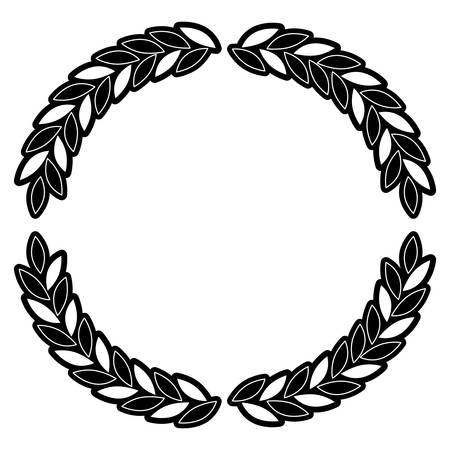 arch of leaves in set double in monochrome silhouette vector illustration