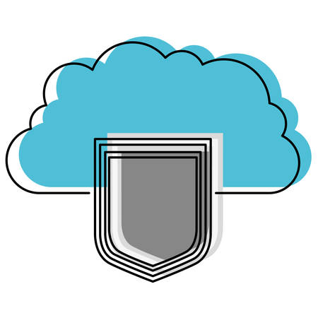 cloud storage data protection shield in watercolor silhouette vector illustration