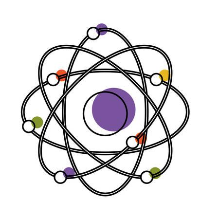 atom icon in watercolor silhouette vector illustration