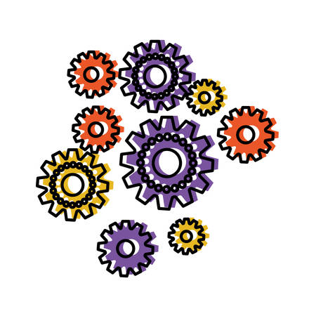 set gear machinery watercolor silhouette on white background and thick contour vector illustration