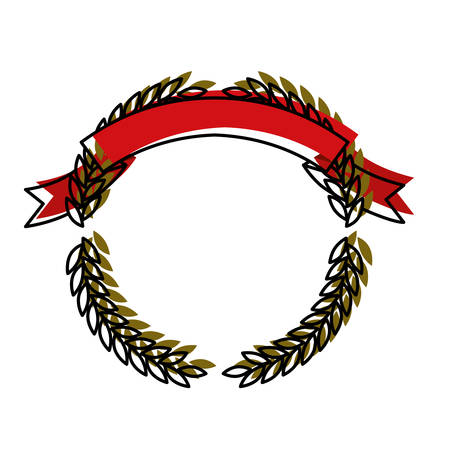 olive green: green olive branches forming a circle with red ribbon on top colorful watercolor silhouette vector illustration