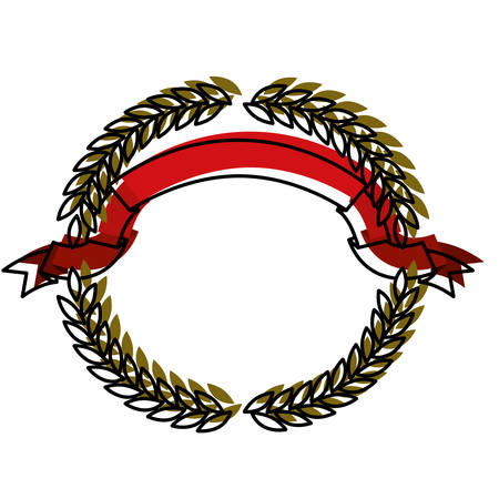 olive green: green olive branches forming a circle with red ribbon on top in colorful watercolor silhouette vector illustration