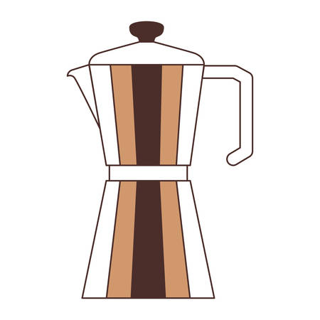 metallic jar of coffee with handle silhouette color section on white background vector illustration Illustration