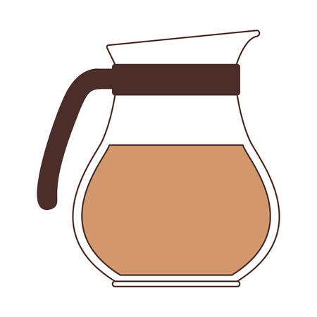 rounded glass jar of coffee with handle silhouette color section on white background vector illustration