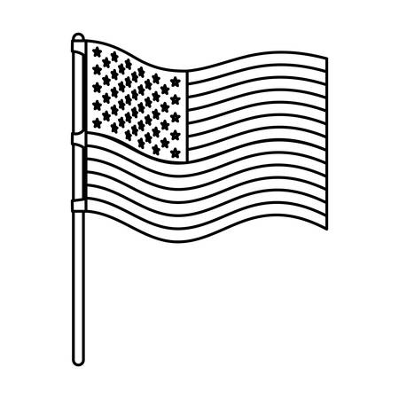 flag united states of america wave in flagpole and monochrome silhouette vector illustration