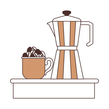 porcelain mug with pile coffee beans and metallic jar of coffee with handle silhouette color section on white background vector illustration