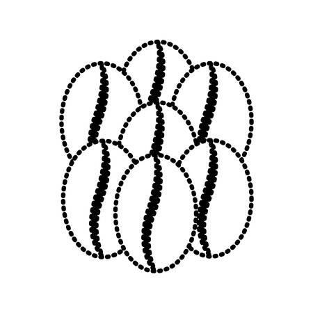heap: coffee beans set of seven grains silhouette dotted monochrome on white background vector illustration