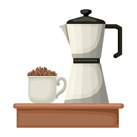 porcelain mug with pile coffee beans and metallic jar of coffee with handle in realistic colorful silhouette on white background vector illustration