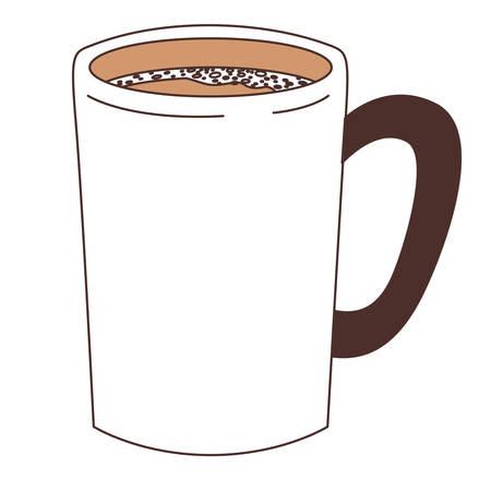 tubular mug of coffee with handle silhouette color section vector illustration Ilustração