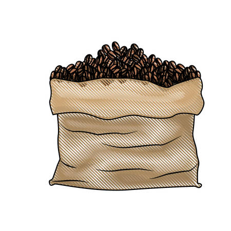 bag with coffee beans colored crayon silhouette vector illustration