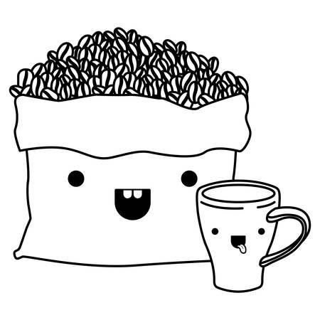 bag with beans and cup of coffee monochrome kawaii silhouette vector illustration