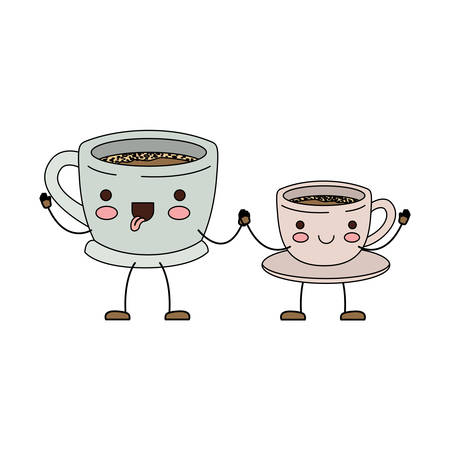 Set big and small cup of coffee cartoon