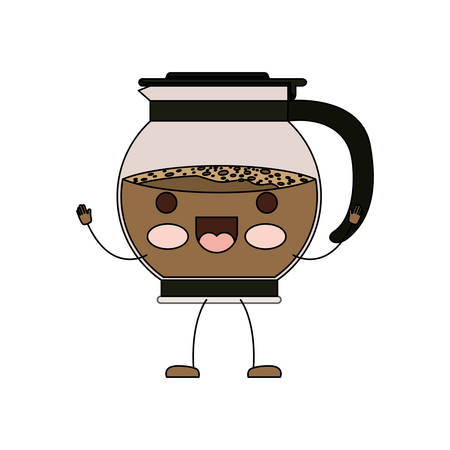 rounded glass jar recipient of coffee with handle cartoon colorful silhouette vector illustration