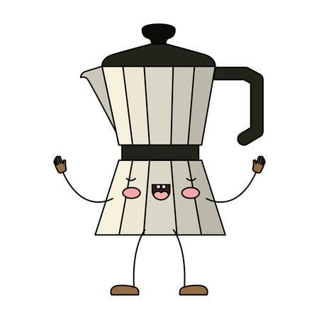 Metallic jar of coffee with handle cartoon Illustration