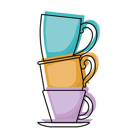 porcelain cup stack colorful watercolor silhouette vector illustration Illustration