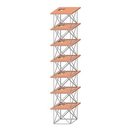 steiger zeven verdiepingen kleurrijke silhouet zonder contour vectorillustratie Stock Illustratie