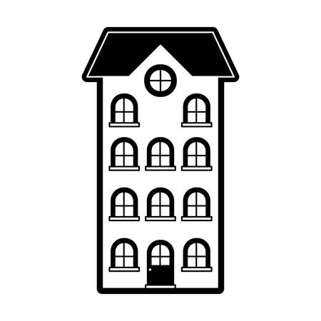 Building apartment of four floors black silhouette vector illustration. Illustration