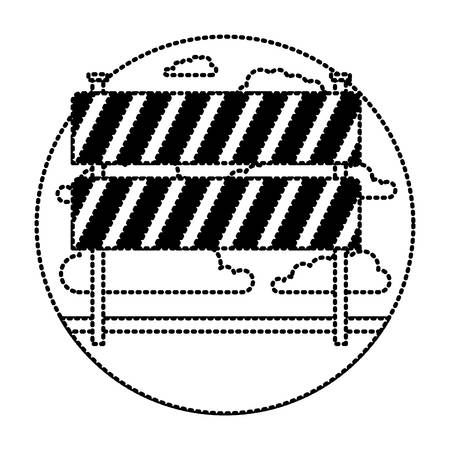 traffic fence in circular frame with cloud landscape on monochrome dotted silhouette vector illustration Illustration