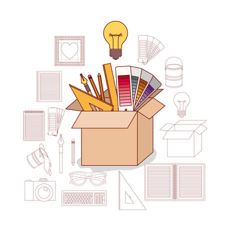 carton box in color with work elements inside and silhouette icons for graphic design on white background vector illustration