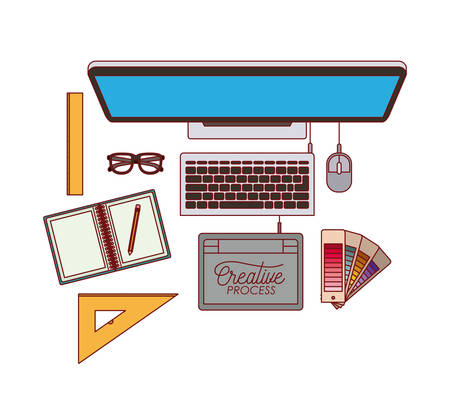 desktop computer top view with elements graphic design on white background vector illustration Illustration