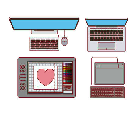 set desktop computer and laptop with digitizer for graphic design on white background vector illustration Ilustração