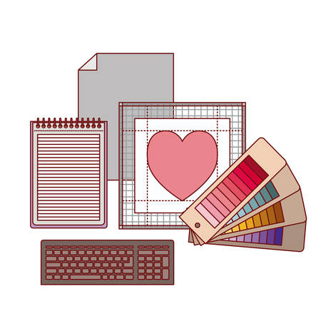 set work elements for graphic design in colorful silhouette on white background vector illustration Ilustração