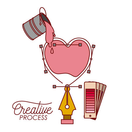 nib design a heart box with paint bucket spilling color for creative process on white background vector illustration Illustration