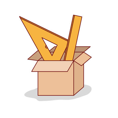 carton box with set ruler on white background vector illustration