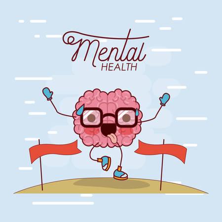 Cartel de salud mental de dibujos animados de cerebro con gafas corriendo y pasando la línea de meta y la ilustración de vector de fondo azul claro Ilustración de vector