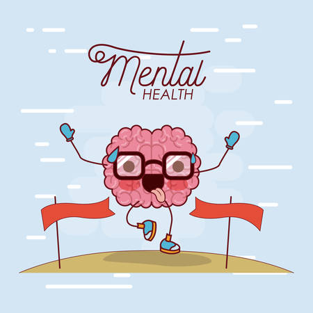 mental health poster of brain cartoon with glasses running and pass finishing line and background light blue vector illustration
