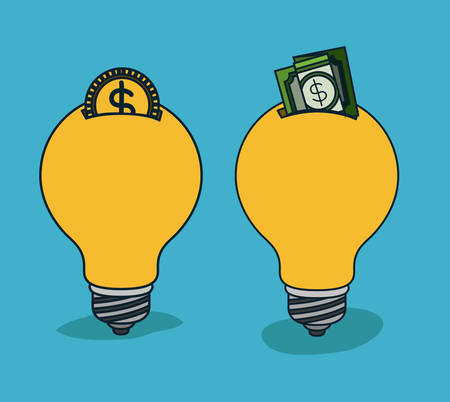 bulbs light in shape of money box with coin and dollar bill in blue background vector illustration