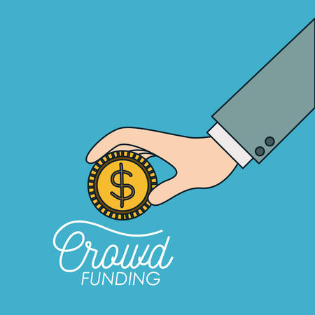 crowd funding poster of hand with coin in blue background vector illustration