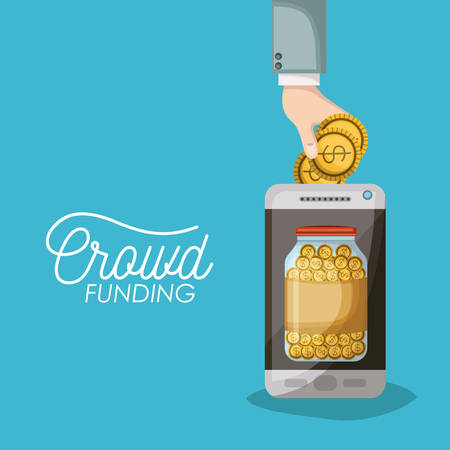 crowdfunding poster of smartphone with savings bottle coins in screen in blue background vector illustration