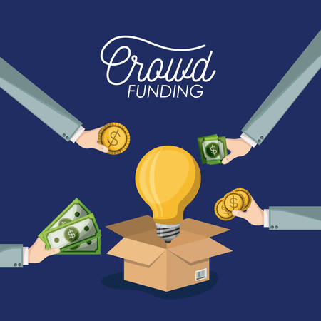 crowdfunding poster with cardboard box opened with big light bulb in dark blue background and hands with money bills and coins vector illustration