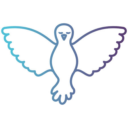 pigeon peace front view on gradient color silhouette from blue to purple vector illustration Illustration