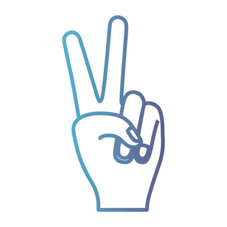 peace hand gesture on gradient color silhouette from blue to purple vector illustration Illustration