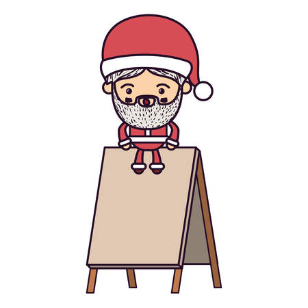 santa claus cartoon sitting on wooden empty blank advertising on colorful silhouette vector illustration Illustration