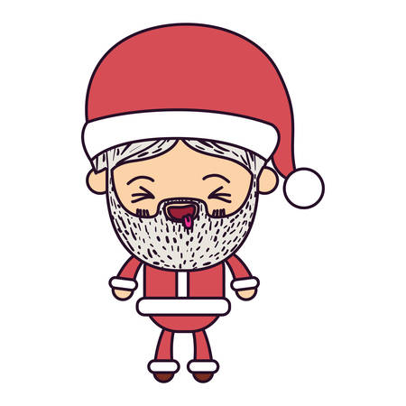santa claus man  full body cartoon smiling with tongue out expression with hat and costume on colorful silhouette Illustration
