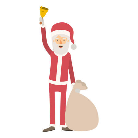 santa claus caricature full body holding a hand bell and gift bag with hat and costume on colorful silhouette vector illustration