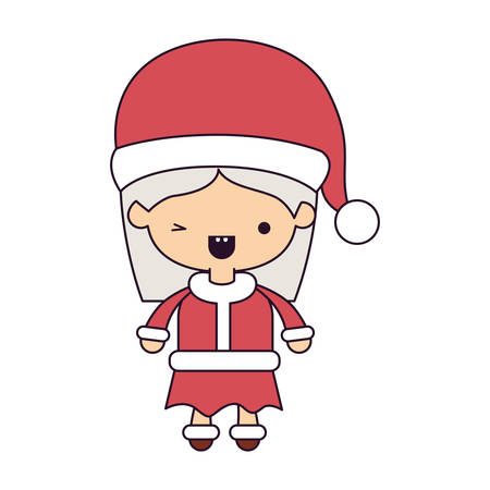 santa claus woman cartoon full body face with wink eye and happiness expression colorful silhouette on white background.