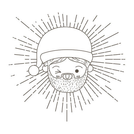 cute face santa claus with wink eye and decorative sparks on silhouette vector illustration