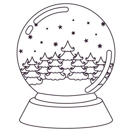 brigth: Christmas crystal ball with winter forest silhouette on white background vector illustration Illustration