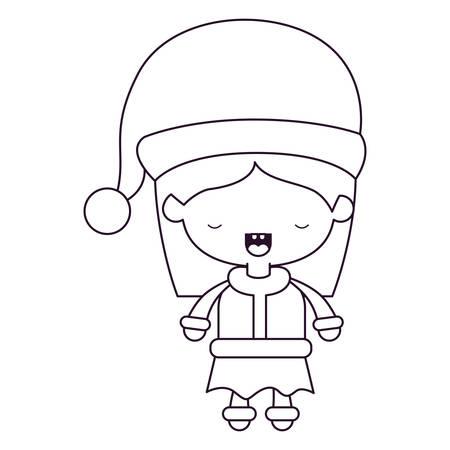 Cuerpo completo de la historieta de señora Santa Claus en la ilustración blanca del contexto. Foto de archivo - 87218937