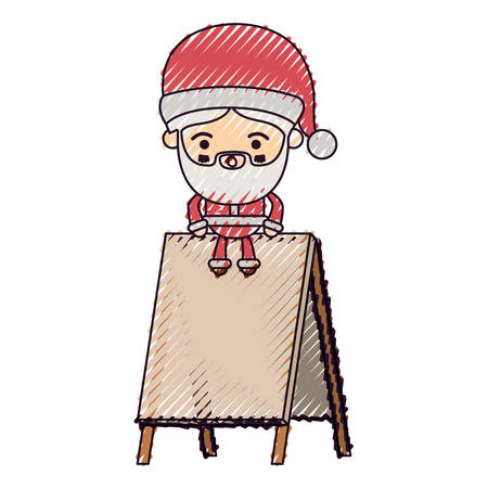 santa claus cartoon sitting on wooden empty blank advertising on color crayon silhouette on white background vector illustration