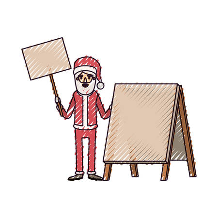 santa claus caricature full body holding a wooden poster and empty advertising with hat and costume on color crayon silhouette on white background vector illustration Illustration