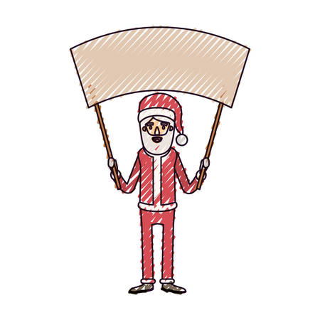 santa claus caricature full body holding a empty poster advertising with hat and costume on color crayon silhouette on white background vector illustration Illustration