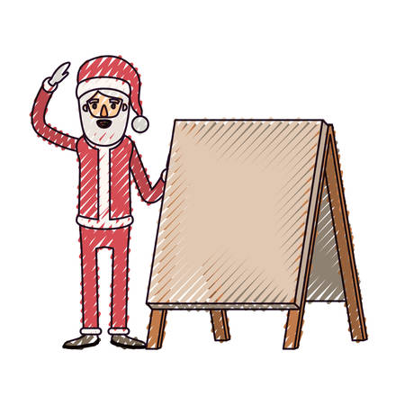 santa claus caricature full body with a placard and hat with christmas costume on color crayon silhouette on white background vector illustration Illustration